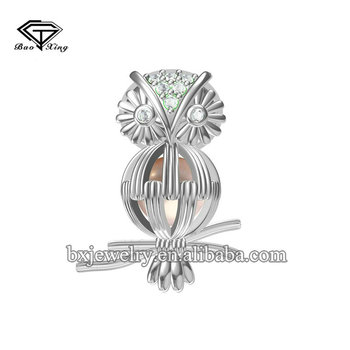 Oem jewelry manufacturer unique design handcrafted rhodium plating owl cage pendant