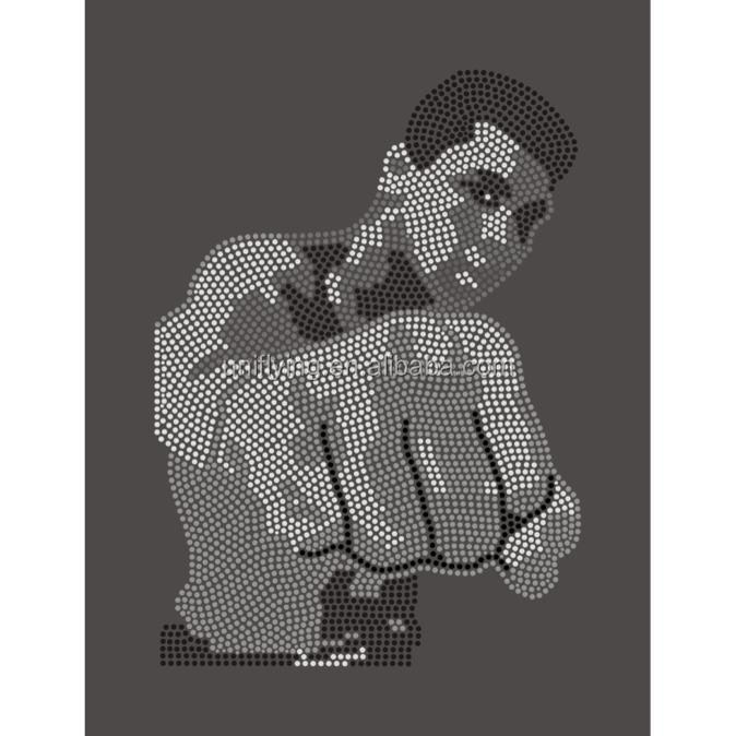 In Memory of Most Famous Boxer Muhammad Ali Boxing King Rhinestone Transfer Design Customized Hotfix Crystal Stone Motif