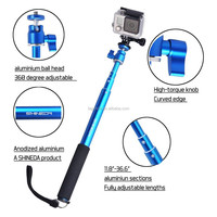 Shineda Telescopic GoPro Stick with Ball Head Mount, Blue Color