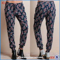 2015 new arrival print ladies fashion trousers design women casual rayon lounge jogger pants