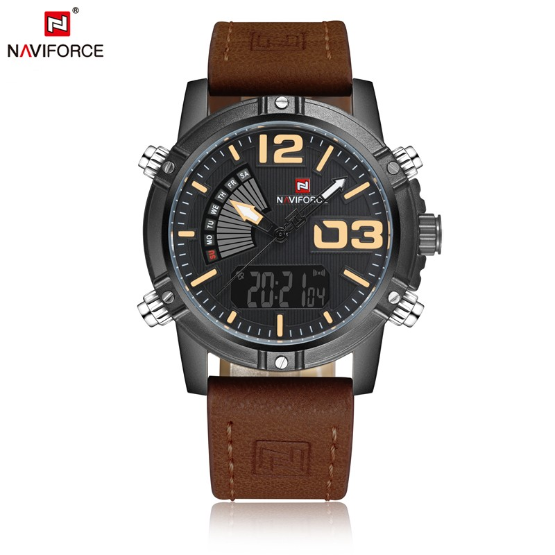 Brand fashion dual time clocks time business alarm <strong>date</strong> week for man leather strap digital analog sport luxury naviforce watch