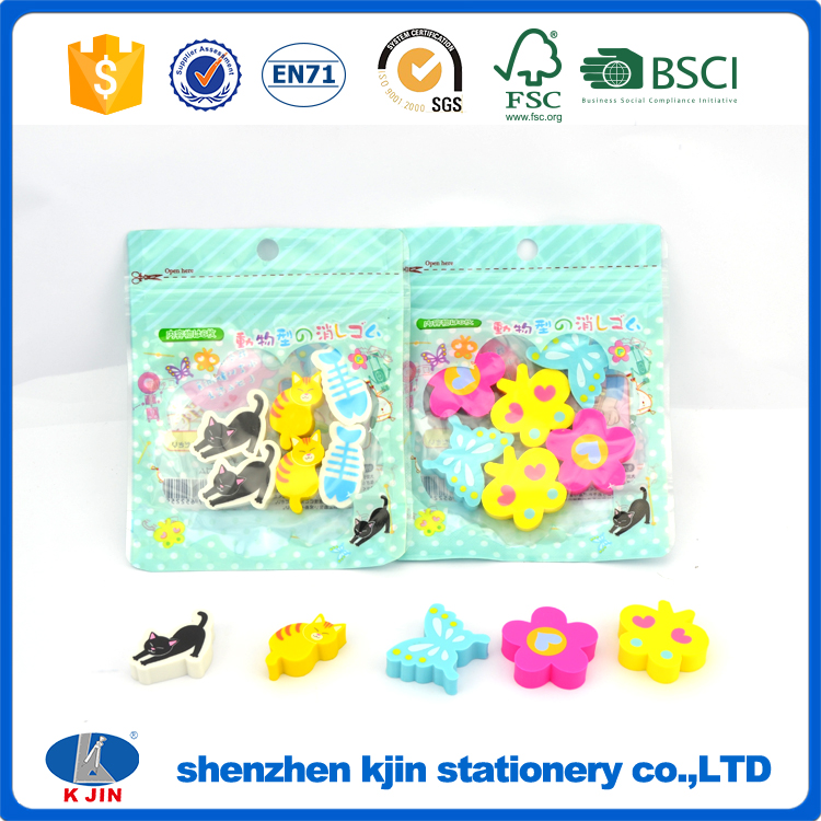 2017 hot selling children toy erasers set with eco bag