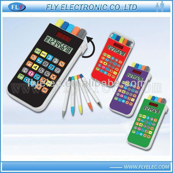 8 digit solar calculator with pen set