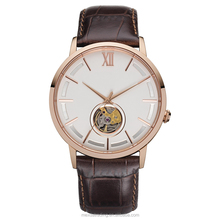 New design custom logo waterproof leather straps mechanical watch with rose gold plating stainless steel
