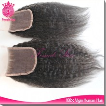 7A grade virgin brazilian hair tight kinky straight lace closure piece with baby hair