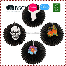 Wholesale Halloween Hanging Paper Fan Party Decoration Halloween Supplies with Skull,Pumpkin,Ghost,Spider