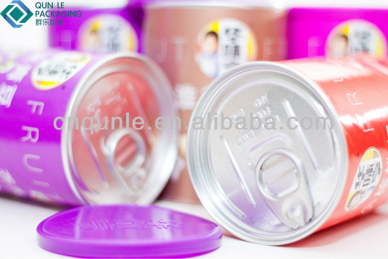 Airtight Paper Tube Food Dried Packing Canister With Zip-Top Can