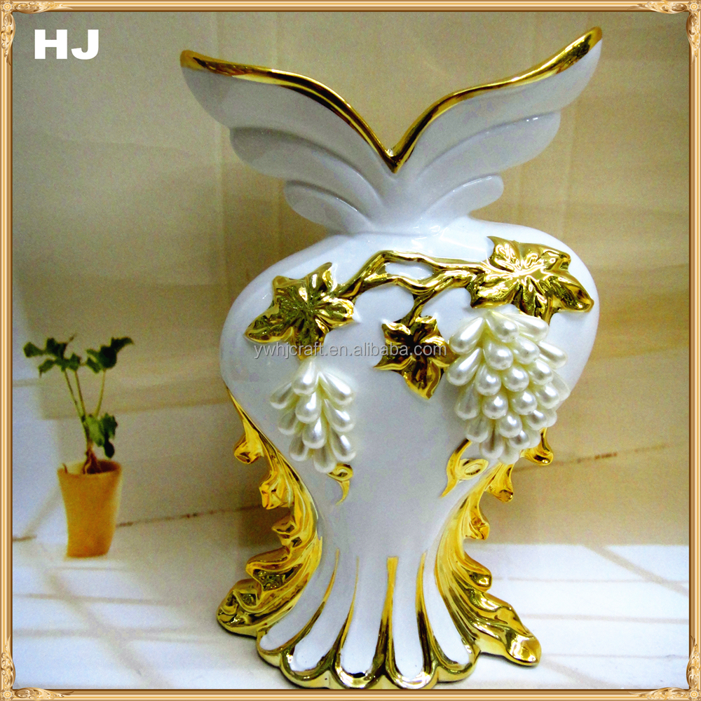 Handmade ceramic with metal stand vase with peals for decoration gift pottery plating floor flower vase