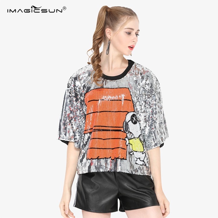 Factory wholesale silver snoopy jacket sequin dance fashion t-shirt women clothing made China t shirts in bulk