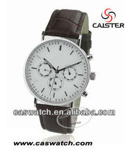 Good sale top qualitystainless steel leather strap watch