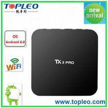 2016 Best Black Android 6.0 TV Box TX3 Pro 2.4g wifi free movie sports