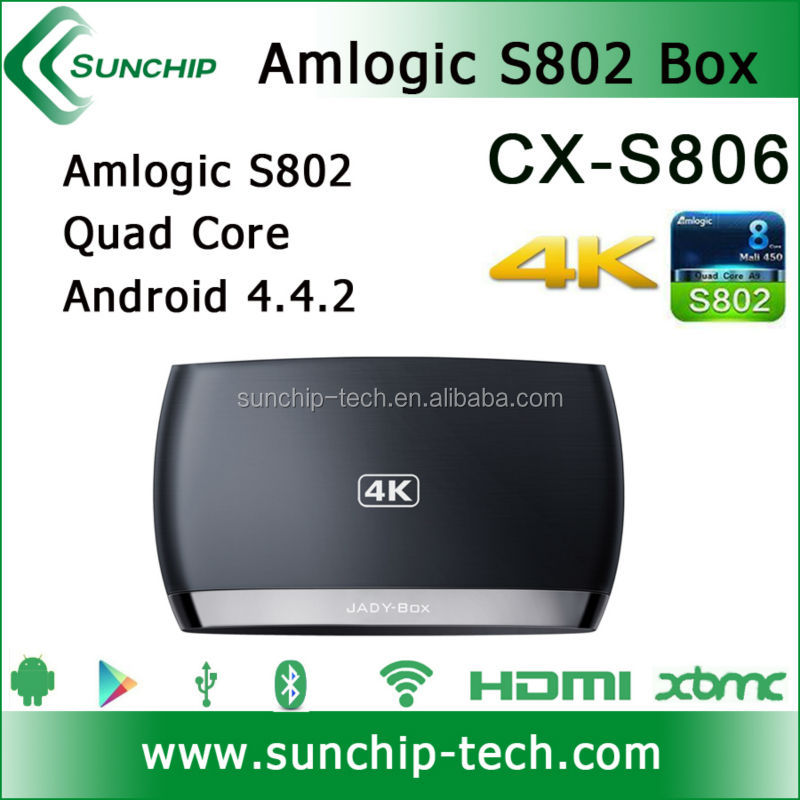 Amlogic S802 Quad core android 4.4 tv box support bluetooth 4.0, 4K*2K, XBMC, 2G+8G dual band android 4.4 S802 tv box