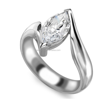 Simple 925 Sterling Silver One Clear CZ Marquise Cut Diamond Single Stone Ring Designs For Women Engagement Jewelry