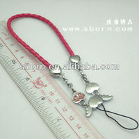 Mobile Phone Strap with Angel Heart and Wings Pendant,Rhinestone
