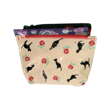 cat printing pvc plastic zip slider make up packaging bag travel