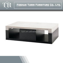 mordern wood coffee table with natural marble stone top