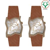 Italian Genuine Leather Watch Straps Peculiar Shape Man Watch With Diamond