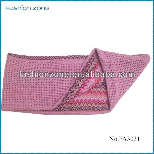 2014 acrylic knit zig zag double layer scarf
