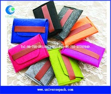 colorful fashion custom felt pouch with leather belt