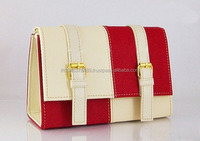 Handbag with Shoulder Belt, Material PVC, Two Tone Color White and Red, Fashion 2014 Handbag made in Thailand