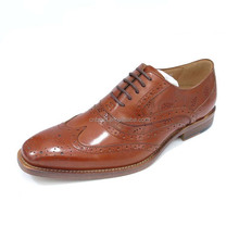 Latest Design Tan Mens Party Style Genuine Leather oxford Dress Shoes