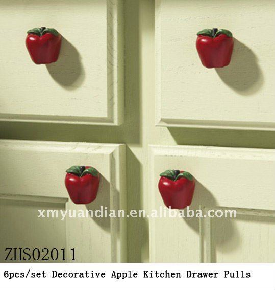 Set of 4 apple cabinet knobs drawer pulls