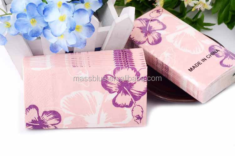 Customized Printed Pocket Facial Tissue/Flower Paper Napkins/Multifold Paper Hand Towel