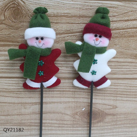 Green White Couple Of Snowman Miniature Christmas Ornaments