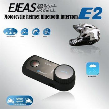 EJEAS E2 waterproof bt interphone bluetooth motorcycle helmet intercom with VOX and 1200m 4 riders connect