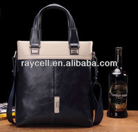 Factory direct sale with promotional price western fashion blue genuioe leather men handbag