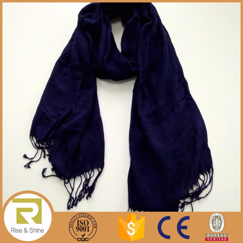Wholesale Cotton and Acrylic woven plain pashmina fringed shawl scarf