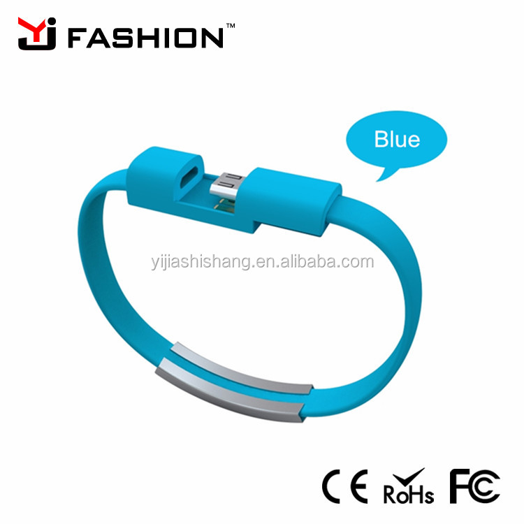 China Popular custom logo metal bracelet kenchain USB data cable flash business style