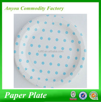 2016 hot sale wholesale customized Light blue polka dot paper plates