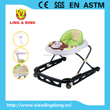 high quality popular new metal base baby walke with rubble stopper baby walker with lovely musical and flashing monkey face toys
