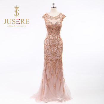 Illusion Tulle Scoop Cap Sleeves Handmade Sequines Beaded Gold Long Mermaid Evening Dresses 2016