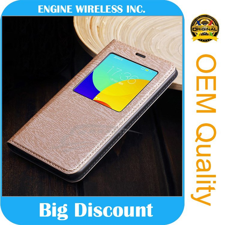 high quality luxury Window cover Genuine pu Leather phone case for samsung note 3 case