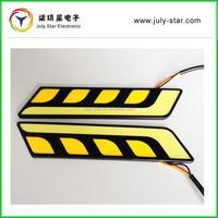 2 x White L Shape COB Car LED DRL Fog Light Driving + Yellow Turn Signal
