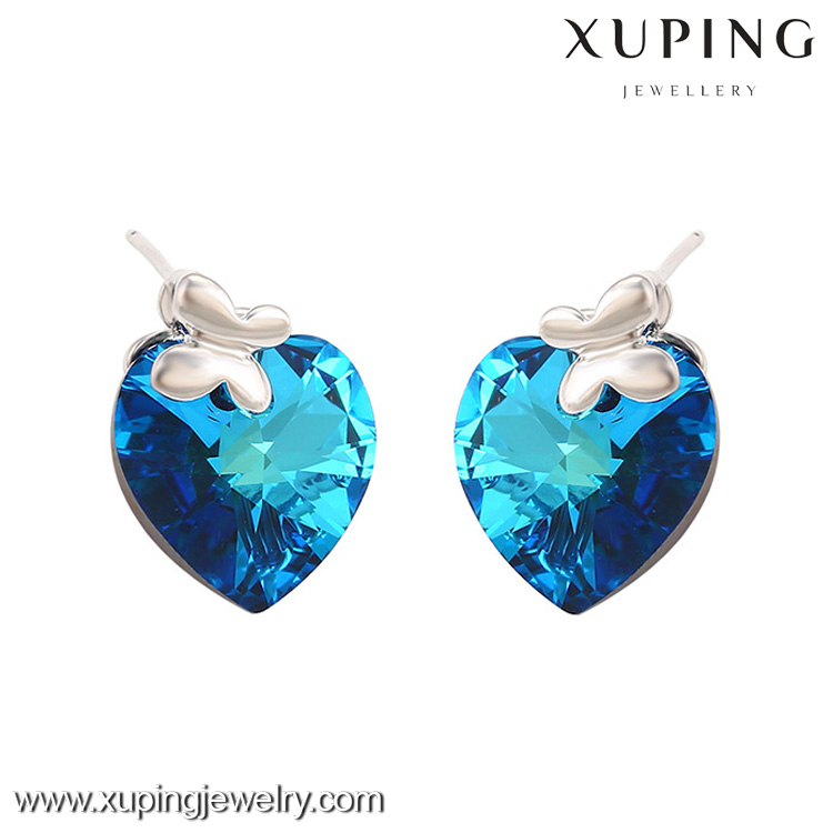 E-6-xuping new designs The heart of the ocean blue crystals from Swarovski earrings