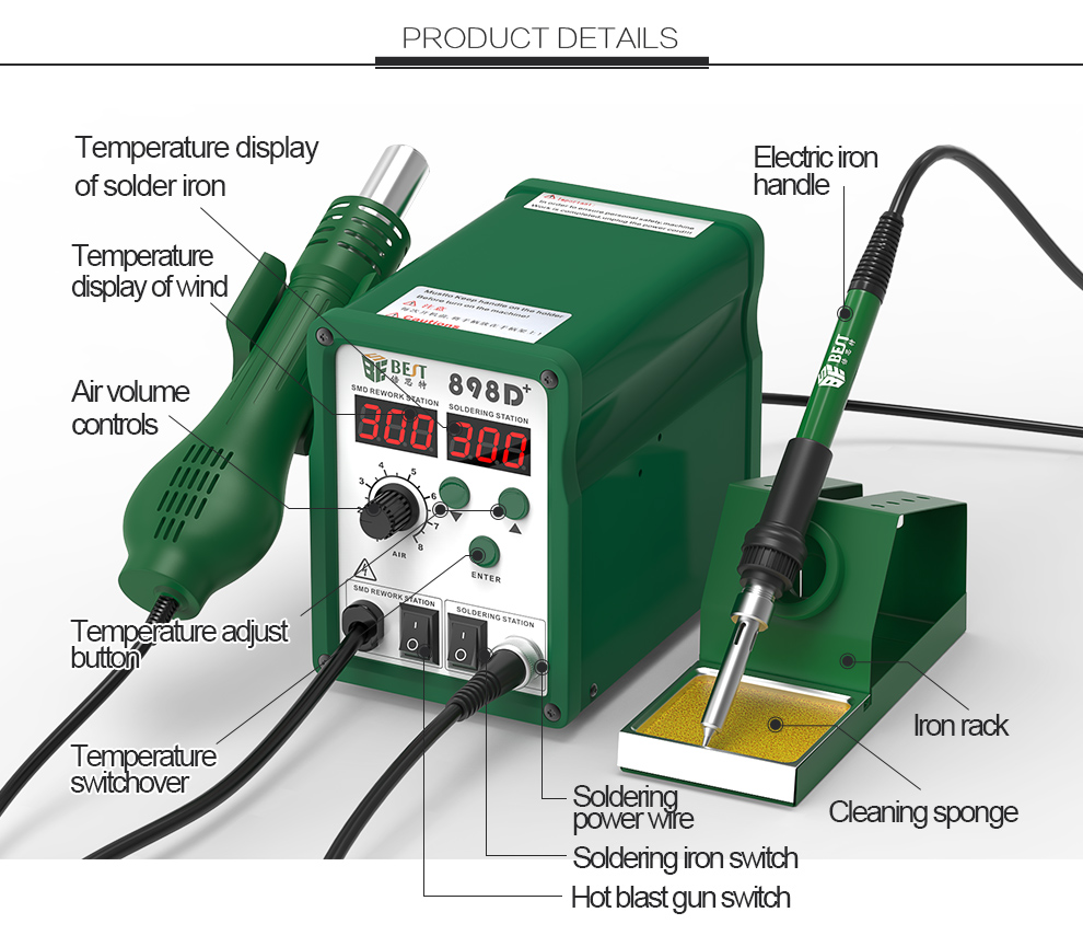 Reasonable Price 700w CE micro smd goot soldering rework station