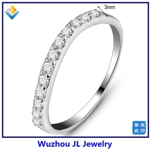 Ladies' Slim Simple CZ Stone Silver Ring In Hot Sale Logo