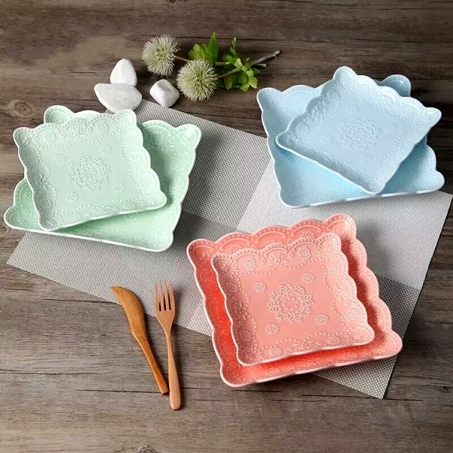 Wholesale carved plates for dinner modern square dinnerware ceramic color dishes