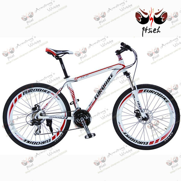 SPORTS MTB!red and white shifting MTB 21 speed double disc-brake mountain bike