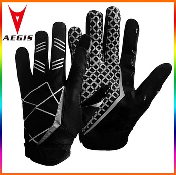 Custom Black White American Football gloves Leather American Football gloves