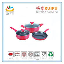 As seen tv website aluminum non-stick pink cookware set with two ears casserole and rivet for cookware