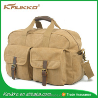 Vintage Canvas Leather Foldable Luggage Travel Bags Cheap Price
