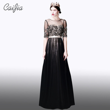 CAIJIA Beaded Black Elegant Transparent Half Sleeve Chaozhou Evening Dress Embroidery Flower Long Prom Dresses With Waistband