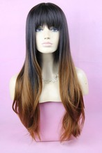 hotselling long synthetic hair ombre wig for women