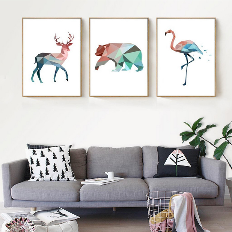 Prime Geometric Animals Canvas Painting Abstract Wall Art Decorative Pictures For Living Room Custom Canvas Print Deer Bear Posters Buy Canvas Painting Download Free Architecture Designs Scobabritishbridgeorg