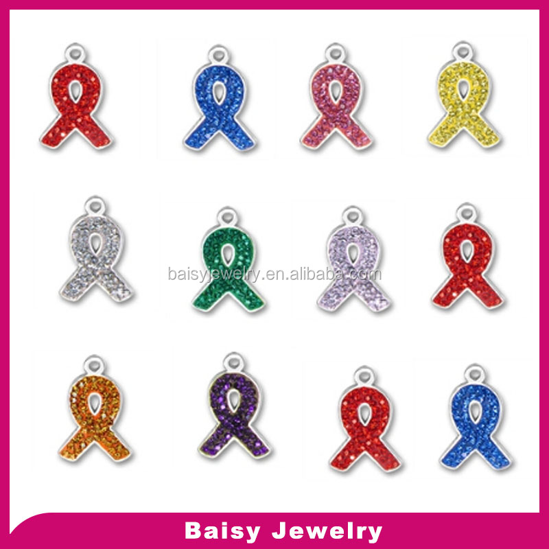 factory price custom design color stone Stainless Steel Awareness Ribbons charm