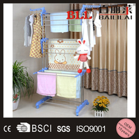 stainless steel two-tier or three layer free standing hanging clothes drying rack